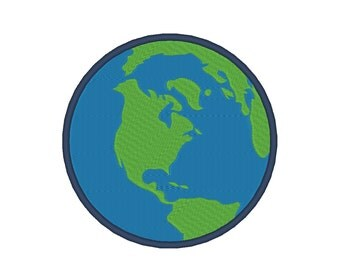 Earth World Embroidery Design with Applique Conversion