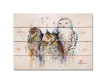 Owl Bird Art, Bird Print. Three Owls on Wood. Watercolor Art on Solid Wood. Indoor and Outdoor Safe Wall Hanging Decor (DCOT)