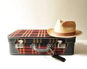 Vintage Red Tweed Suitcase - Midcentury Luggage With Original Keys