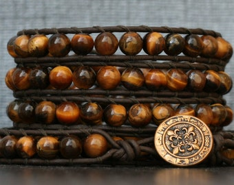 tiger eye bracelet on black brown leather - gold brown beaded boho gypsy - mens or womens - beaded leather wrap bracelet