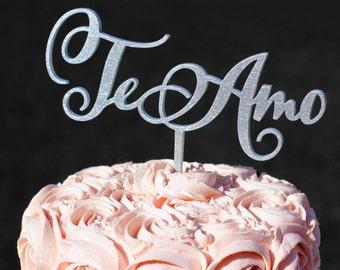Silver Te Amo Cake topper | Wedding Cake Topper | Engagement Topper | Personalized Cake Topper | Cake Toppers for Weddings |