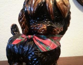Holiday Dog Statue Wearing Holiday Ribbon - has many paint chips