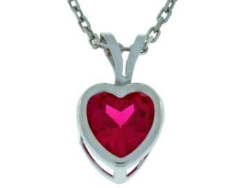 1 Ct Ruby Heart Bezel Pendant .925 Sterling Silver