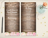 "Wedding Program Card, Floral Boho Program, Modern Rustic Flowers Program, Whimsical Elegant Program, 4""x9"" Double Sided DIY Printable (P39)"