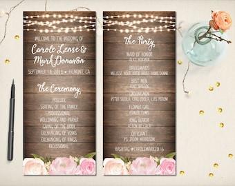 "Wedding Program Card, Floral Boho Program, Modern Rustic Flowers Program, Whimsical Elegant Program, 4""x9"" Double Sided DIY Printable (P39)"
