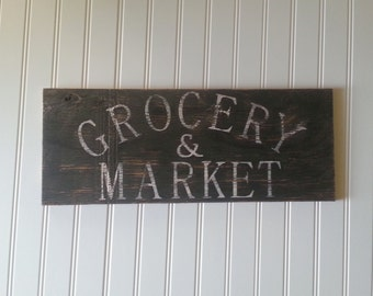 Distressed and vintage look grocery & market sign/white black/kitchen/market