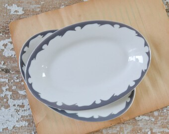 Vintage Pair Oval White Grey Rim Plates - Restaurantware Buffalo China