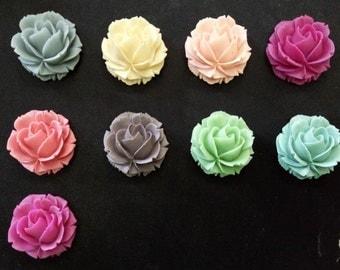 12 pcs of resin rose cabochon-38x38x20mm-RC0069-mix color
