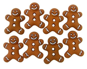 Gingerbread men buttons for scrapbooking, sewing, journals, and other crafts