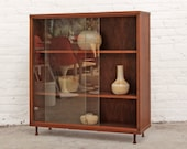 Walnut Curio Cabinet Bookcase Mid Century Shelves