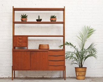 Mid Century Teak Sideboard Wall Unit Bookcase