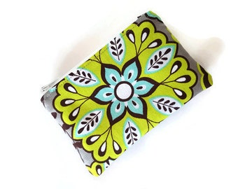 Coin Purse / Zip pouch / Change Purse / Business Card Holder in Colorful Floral Print