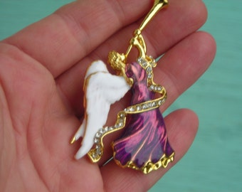 Splendid ANGEL playing trumpet handpainted enamel deep purple brooch w. crystals