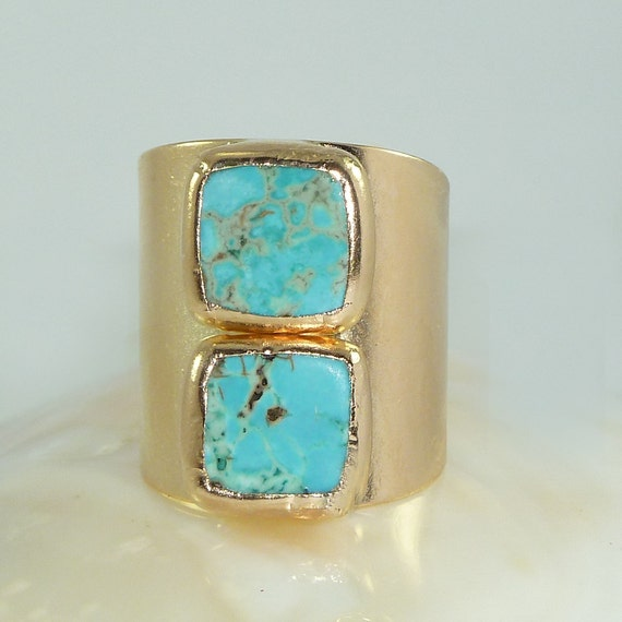 Turquoise Gold Ring Statement Ring Gold Turquoise Gemstone