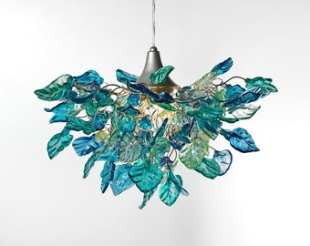 Lighting hanging chandeliers with Sea color flowers and leaves, for dinning room, hall or bedroom.