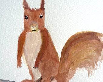 Squirrel art woodland animal nursery art wall art one of a kind 9 X 12 inches