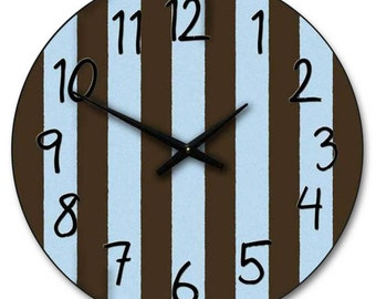 Blue & Brown Stripe Wall Clock