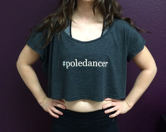 Poledancer Cropped Tank in Almost Black - O/S