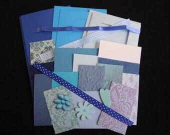 NEW Brocade Blues -luxury 3 blank cards kit -OOAK ready to ship