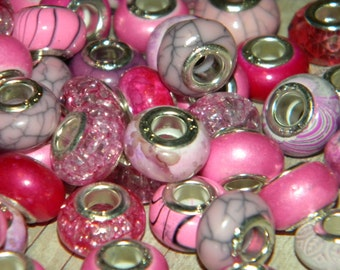 NEW MIXED lot of 30/pcs per order PINK'S European charm beads 14.0-14.5mm