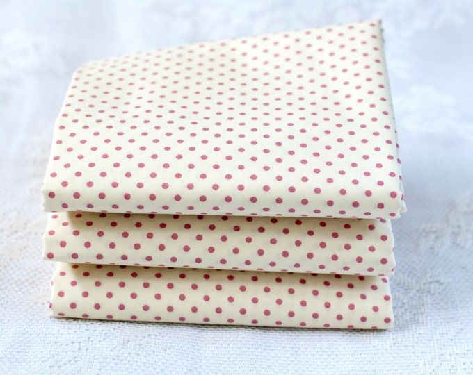 Featured listing image: Pink Polka Dot Fat Quarter | Cotton Fabric |