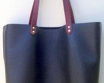 Black Leather Totes - Natural latigo leather handle totes - Leather bags - black leather shoulder bags - Purse - Minimalist Tote Bags