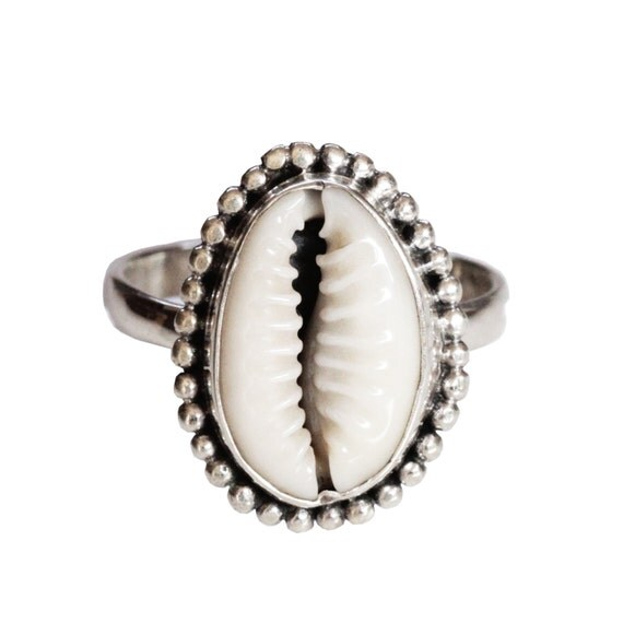 Cowrie Shell Ring, Boho Rings, Cowrie Shell Jewelry, Silver Ring, Bohemian Rings, Sterling Handcrafted Jewellery