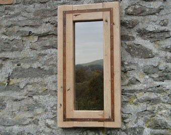 Rustic Reclaimed Mirror with steel detail