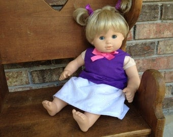 Bitty Baby Purple Mix-and-Match outfit, 15 inch doll clothes Purple Top Eyelet Skirt Floral Skirt Bitty Twins