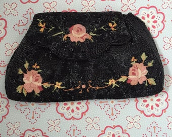Vintage Black Beaded Rose Pattern Clutch Made in France