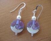 Ocean Earrings, Lampwork Earrings, Lavender Ivory, Ocean Scene, Waves, Beach, Stars, Sandy Beach, Pretty Earrings, Handmade Lampwork Beads