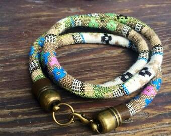 Wrap Around Bright Green Colored Peruvian Material Bracelet.
