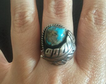 Navajo Sterling Silver and Turquoise Ring Size 6.5 Vintage