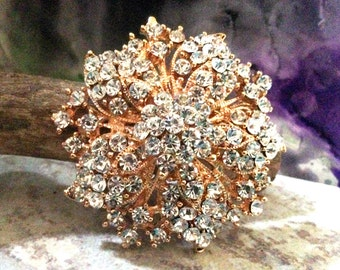Rose Gold Tone Rhinestone Brooch Flat Back Embellishment Pin Clear Crystal Flower Broach Wedding Rose Gold Brooch Bouquet DIY Supply  rgc1