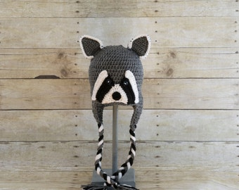 Raccoon Hat - Animal Hat - Woodland Animal - Hats for Kids - Toddler Hat - Childrens Hats - Photo Prop