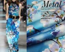 43 inches wide 19 m/m Pear flower style Print Silk Fabric silk elastic satin Fabric Dress Fabric by the yard - xy