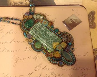 Nouveau Deco inspired-bead embroidery cluster necklace-Blues-Amber-Greens-natural stones, crystal, vintage lucite flowers,Morris under glass