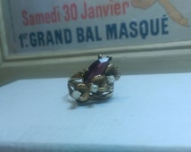 Vintage Vargas Ring Simulated Amethyst Calla Lily Ring 18kt hge Size 10