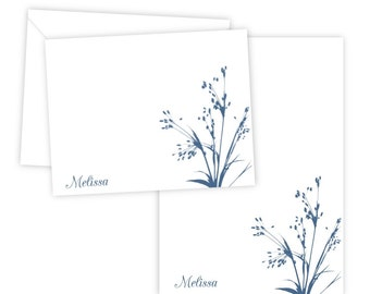 Personalized Stationery Set - Personalized Folded Note Cards & Notepad - Wild Flower - Set of 10 Note Cards + Notepad