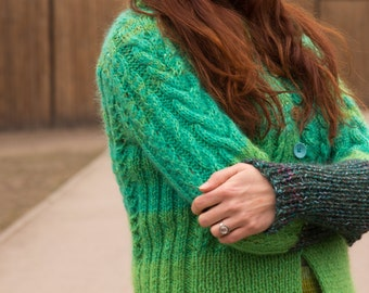 Handmade bright green wool buttons-up cardigan