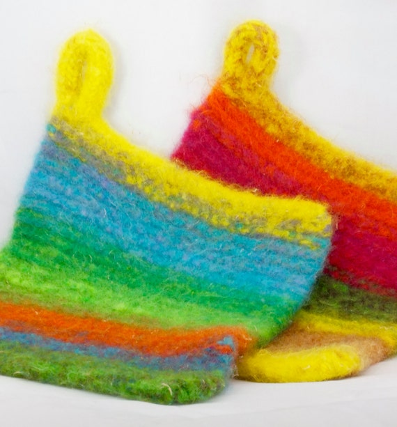 Knitting Patterns For Popsicle Wool : Popsicle Treats Wool Felted Hot Pads/Trivets