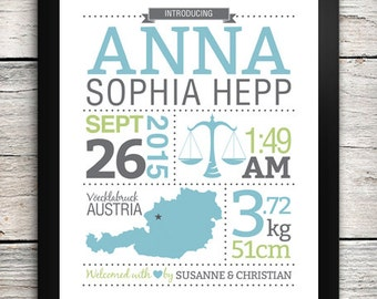 Birth Details Print / Birth Announcement Print with Map and Starsign Illustration