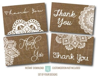Printable, Rustic Thank You Cards- Burlap and Lace Thank You Cards- Imdtant DownloD- Cards for Anyone