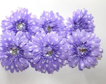 "Light Purple Polka Dot Gerbera Daisies,4"" Gerber Daisy, Flower head supply, Crafts, DIY"