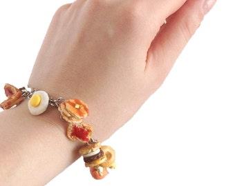 Breakfast Charm Bracelet - Miniature Food, Food Bracelet