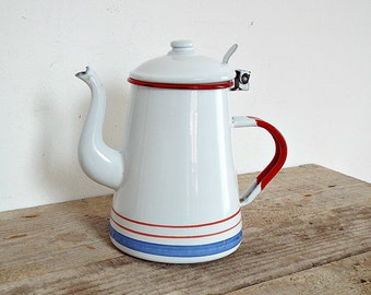ENAMEL COFFEE or TEA pot - white striped rustic coffeepot teapot kettle, enamelware, camping pitcher, kitchenware, retro home decoration