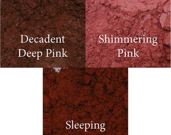 All Natural Mineral Blush Makeup in Shades of Sleeping Beauty, Decadent Deep and Shimmering Pink