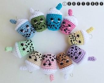 Crochet Boba Tea Charm - Bubble Tea Charm