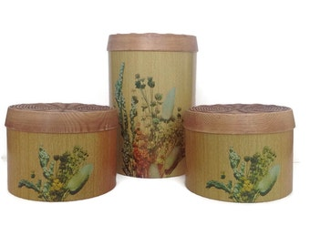 Mid Century Kitchen Canisters Vintage Kitchen Storage Cheinco Metal Canisters 1970's Retro Kitchen Decor Faux Wood Grain-Wildflowers Floral