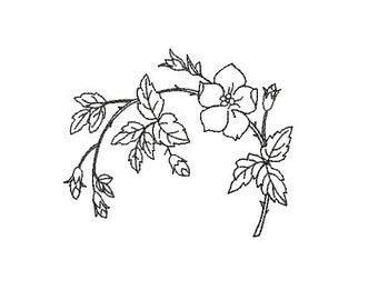 flowers redwork embroidery design